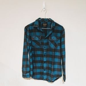Burton blue and brown plaid flannel size S